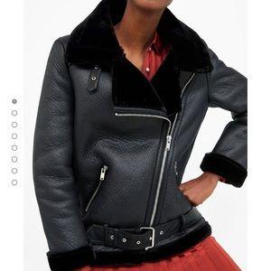 Zara faux fur lined biker jacket